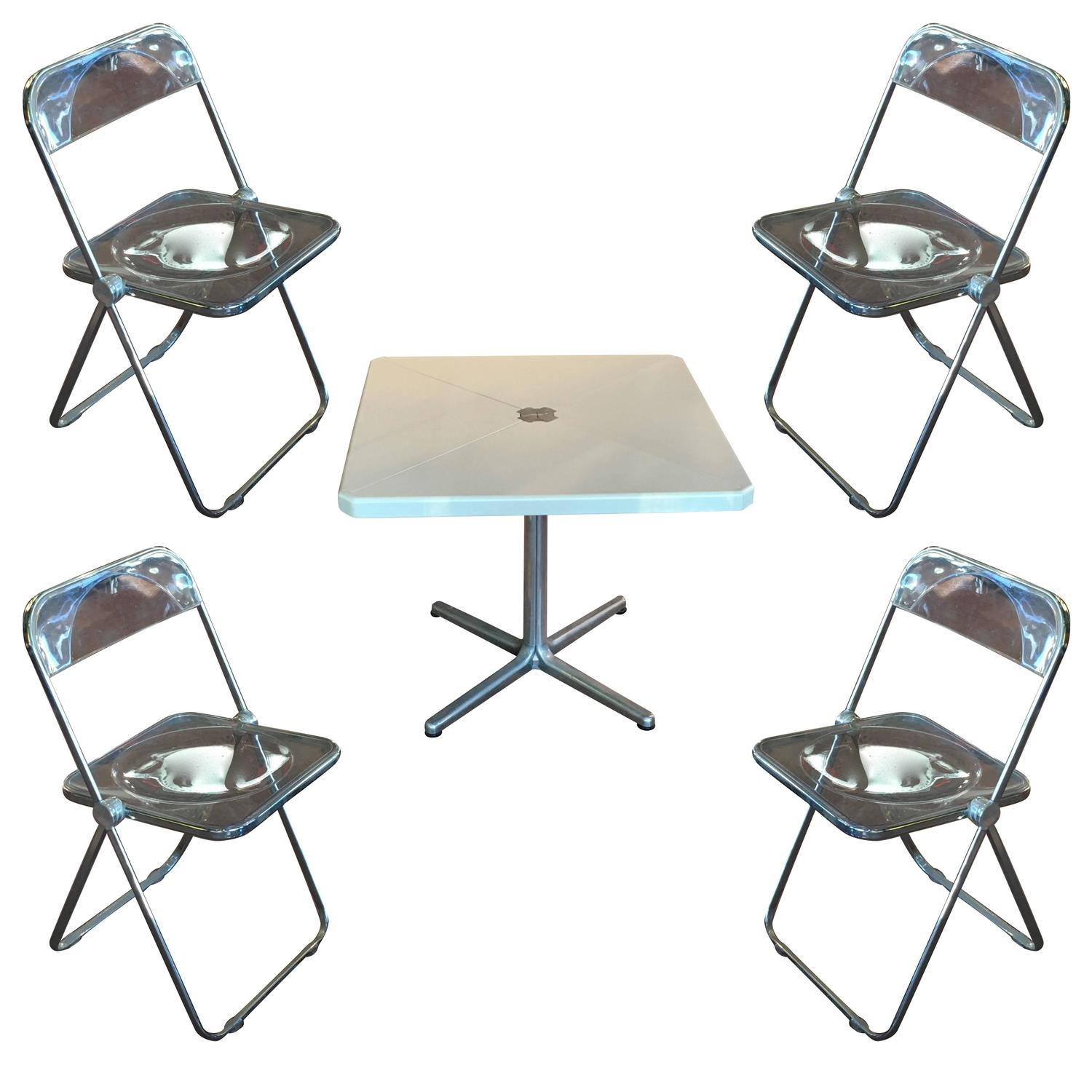 Folding Card Table And Chairs Modern Metal Folding Card Table And Four Quotplia Quot Chairs By