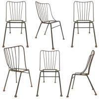 Set of Six Mid-Century Wrought Iron Outdoor Chairs at 1stdibs