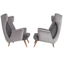 Grey Modern Armchairs Disney Cars Chair Desk With Storage Bin Pair Of Mid Century Italian In Velvet For Sale