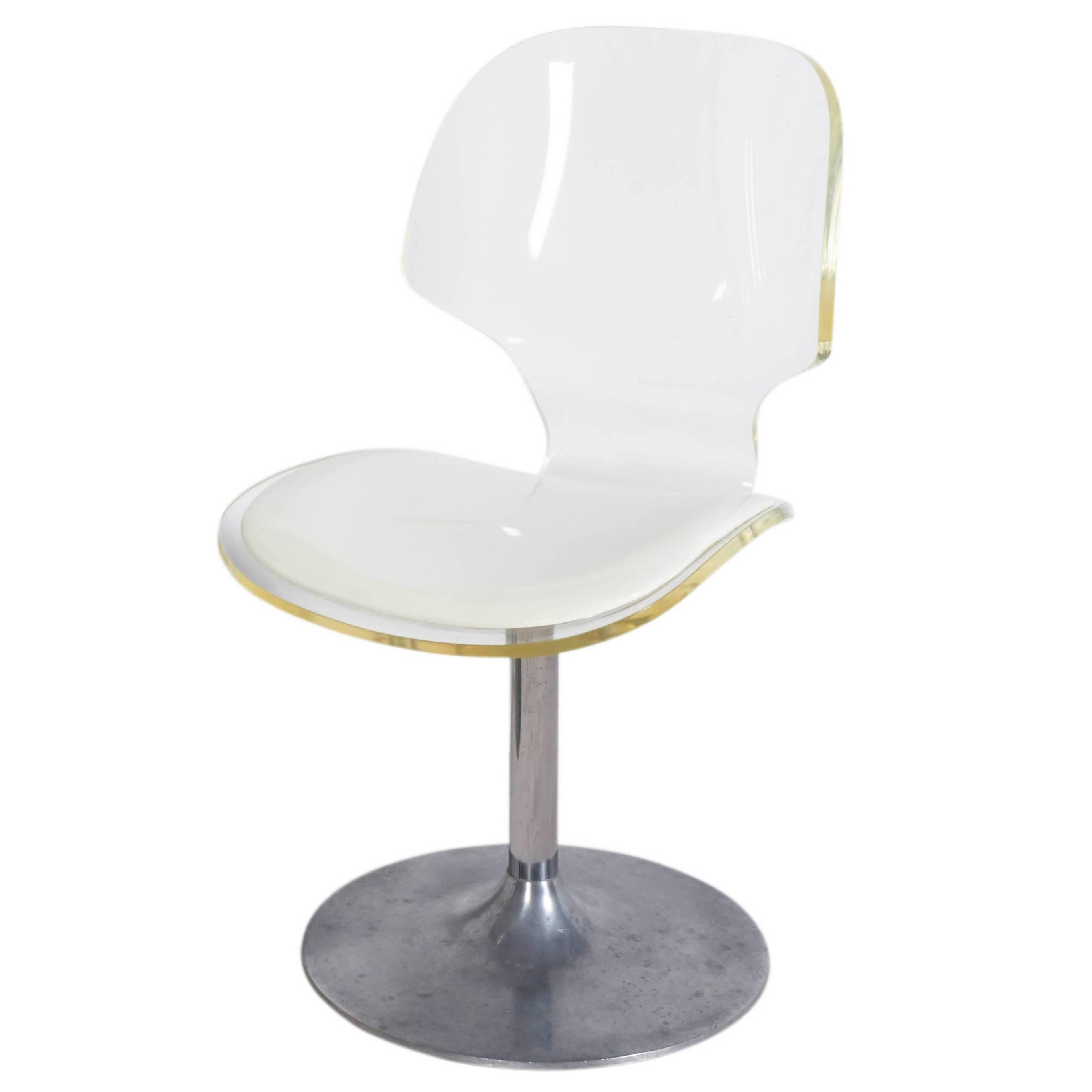 Lucite Chair Hill Manufacturing Lucite Chair On Aluminium Tulip Base