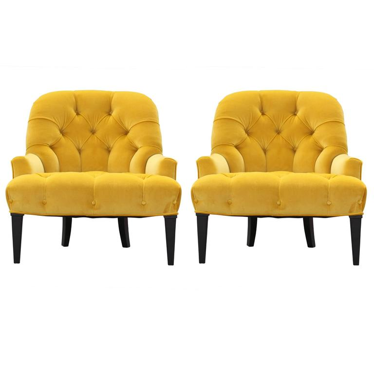 tufted yellow chair king kong massage pair of modern french slipper lounge chairs in velvet for sale