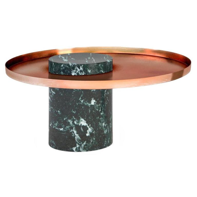High Salute Coffee Table White Marble Black Tray For