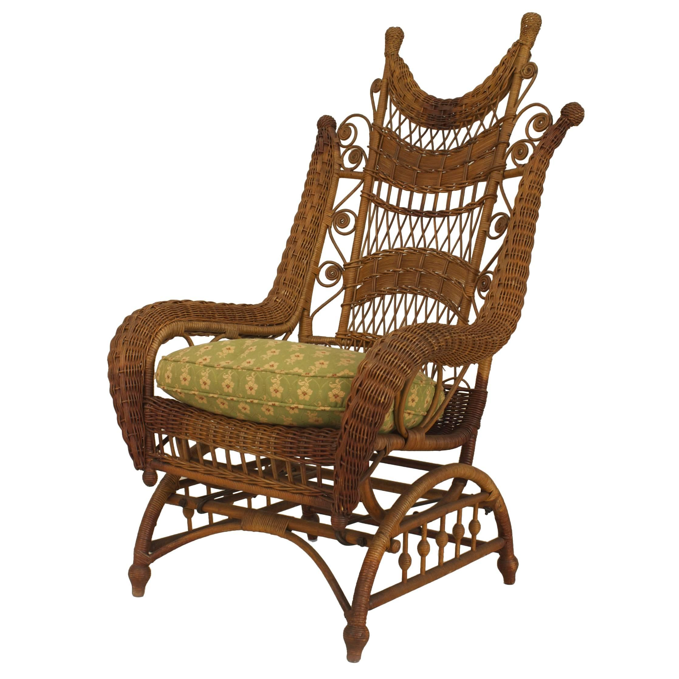 Wicker Rocking Chair 19th Century American Ornate High Back Wicker Rocking Chair