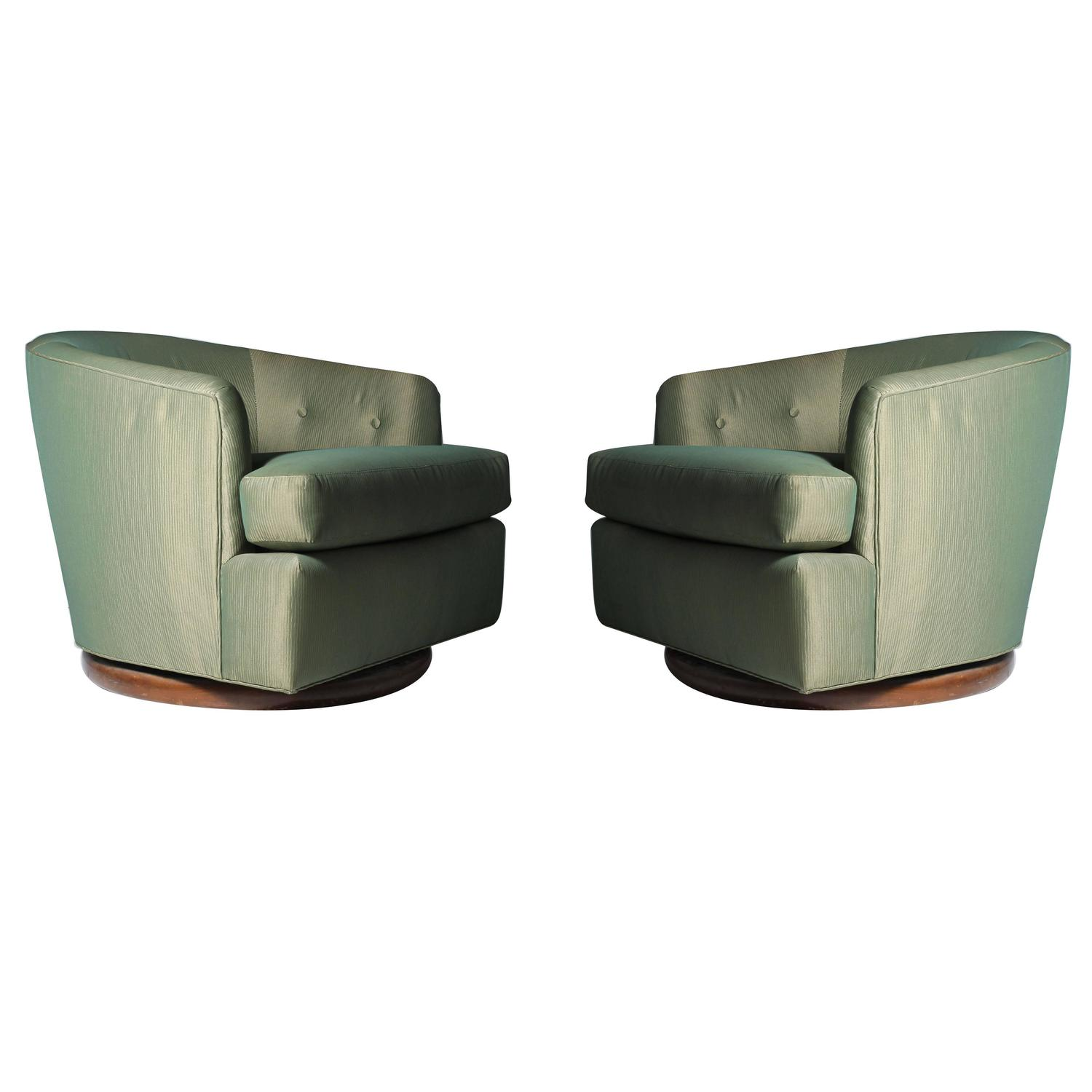 swivel club chair mid century recliner milo baughman gliding barrel back chairs for sale at 1stdibs