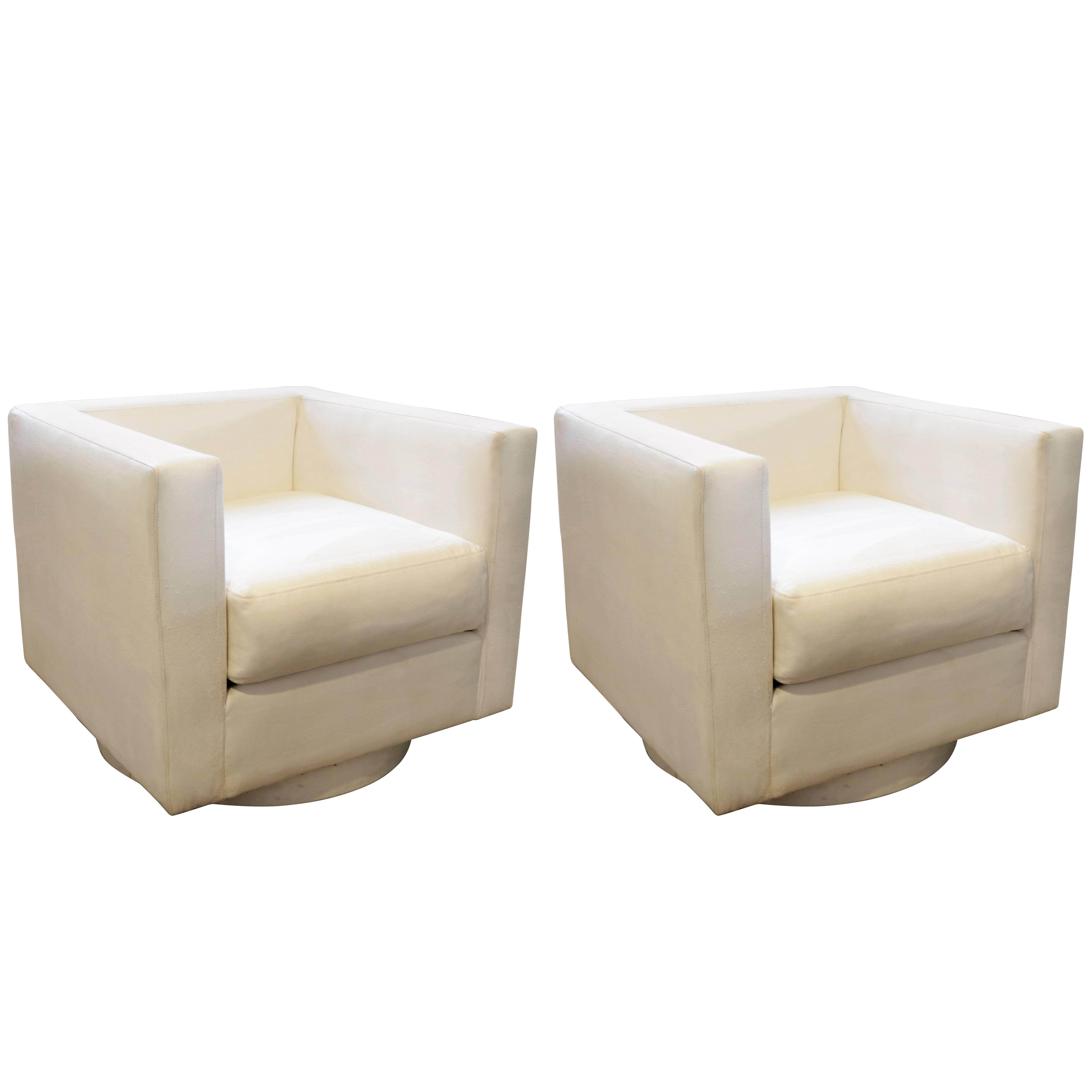 white upholstered chairs dining room chair covers diy set of two tuxedo swivel by harvey probber for sale