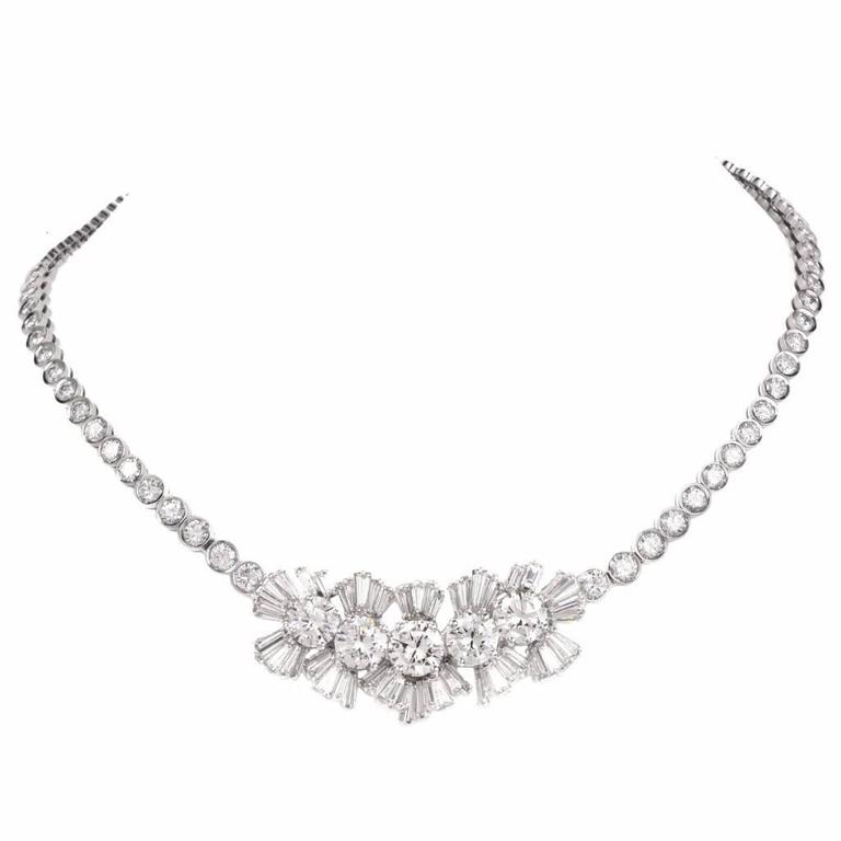 1940s Important GIA Diamond Gold Necklace For Sale at 1stdibs