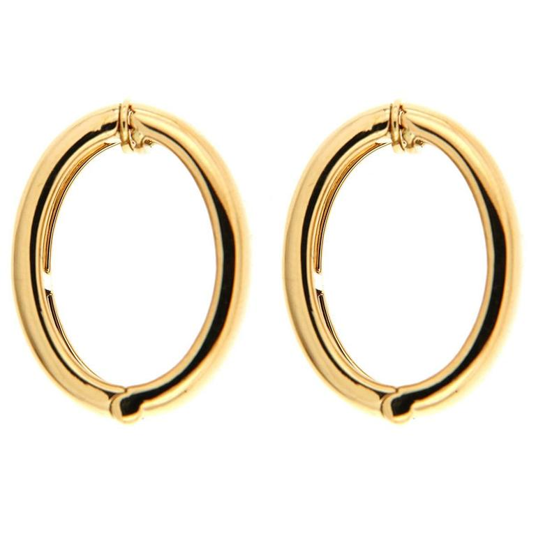 Gold Hoop Clip On Earrings For Sale At 1stdibs