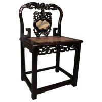 Antique Chinese Hardwood Alter Chair with Marble and ...