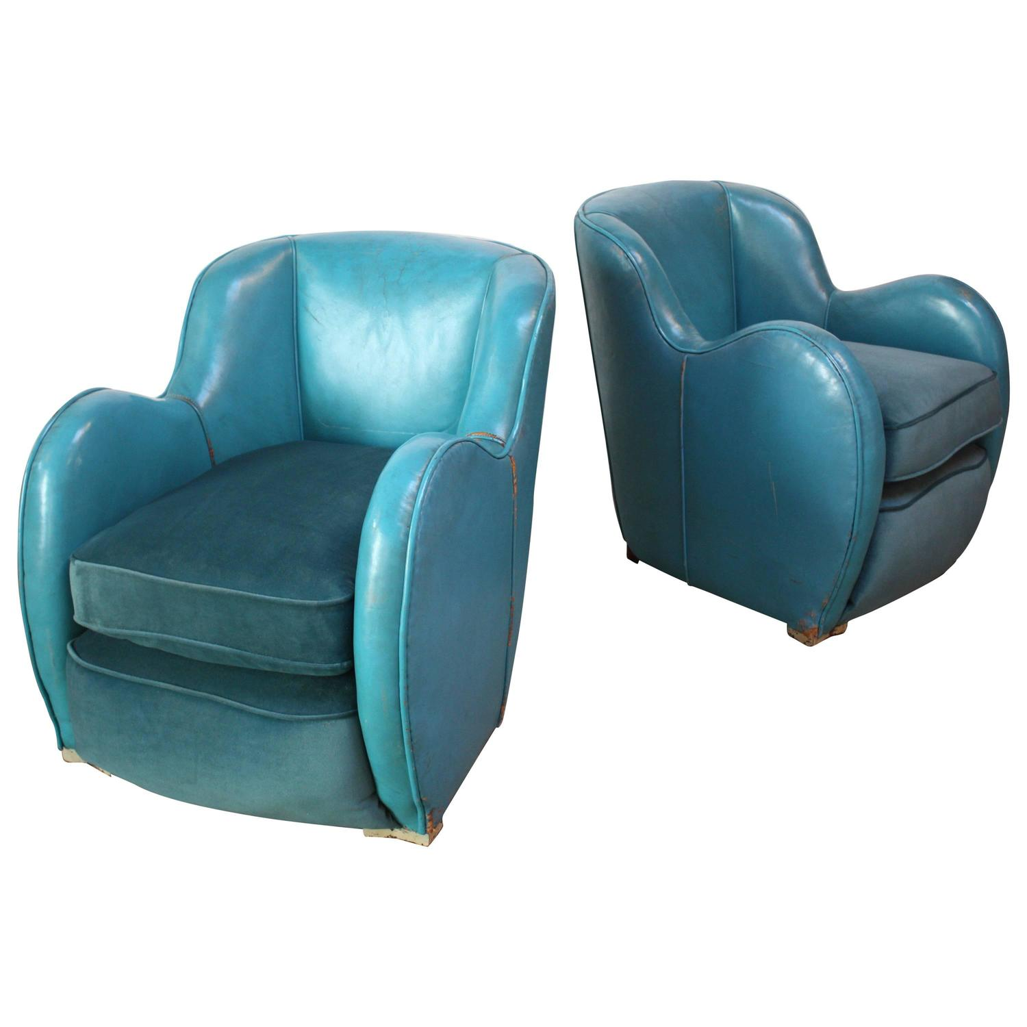 Blue Leather Club Chair Scandinavian Deco Club Chairs In Blue Leather And Velvet