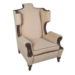 Modern Art Chair Covers And Linens Oversized Leather A Half Single Linen Trim Wing For Sale At 1stdibs