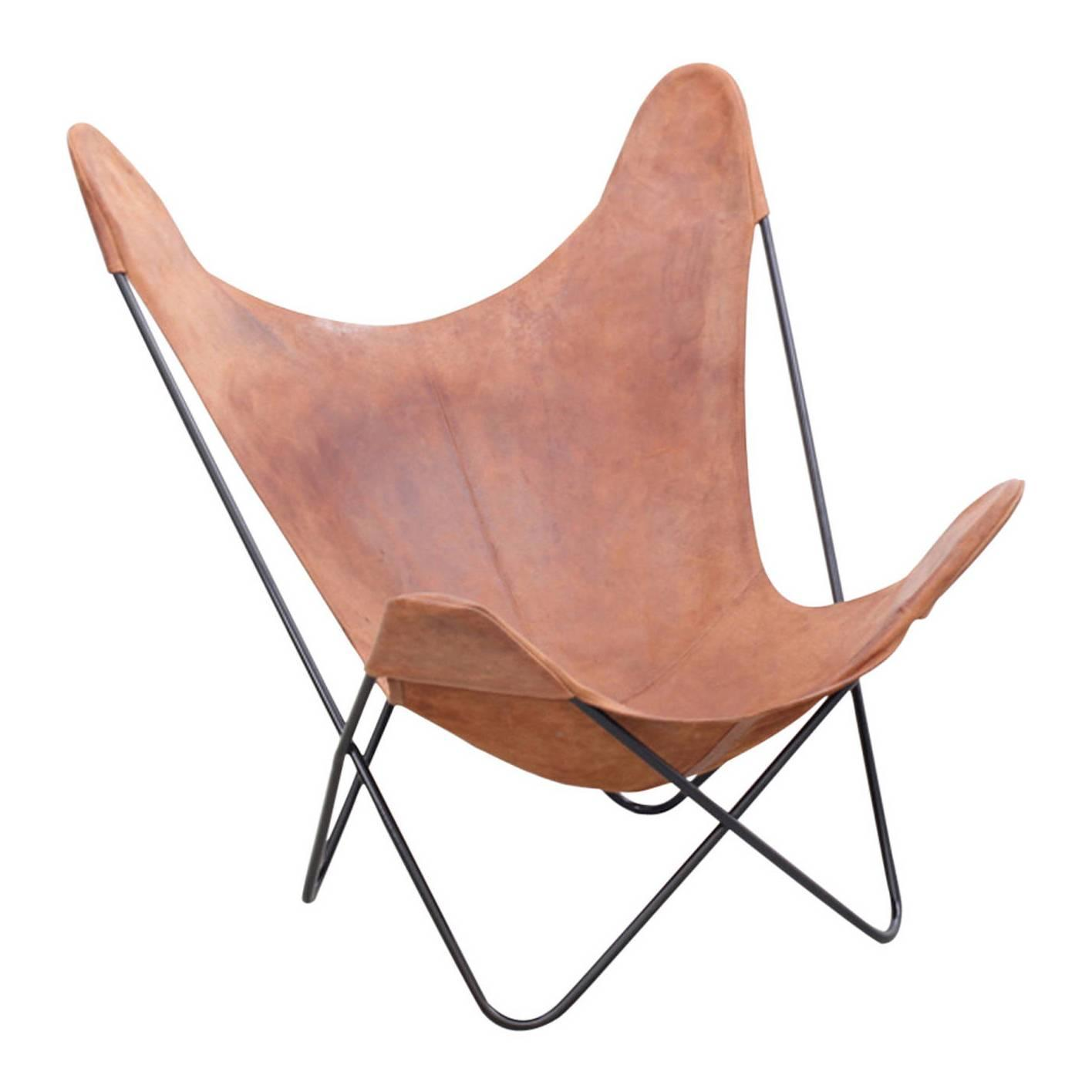 butterfly lounge chair wedding covers middlesbrough vintage hardoy in original leather at 1stdibs