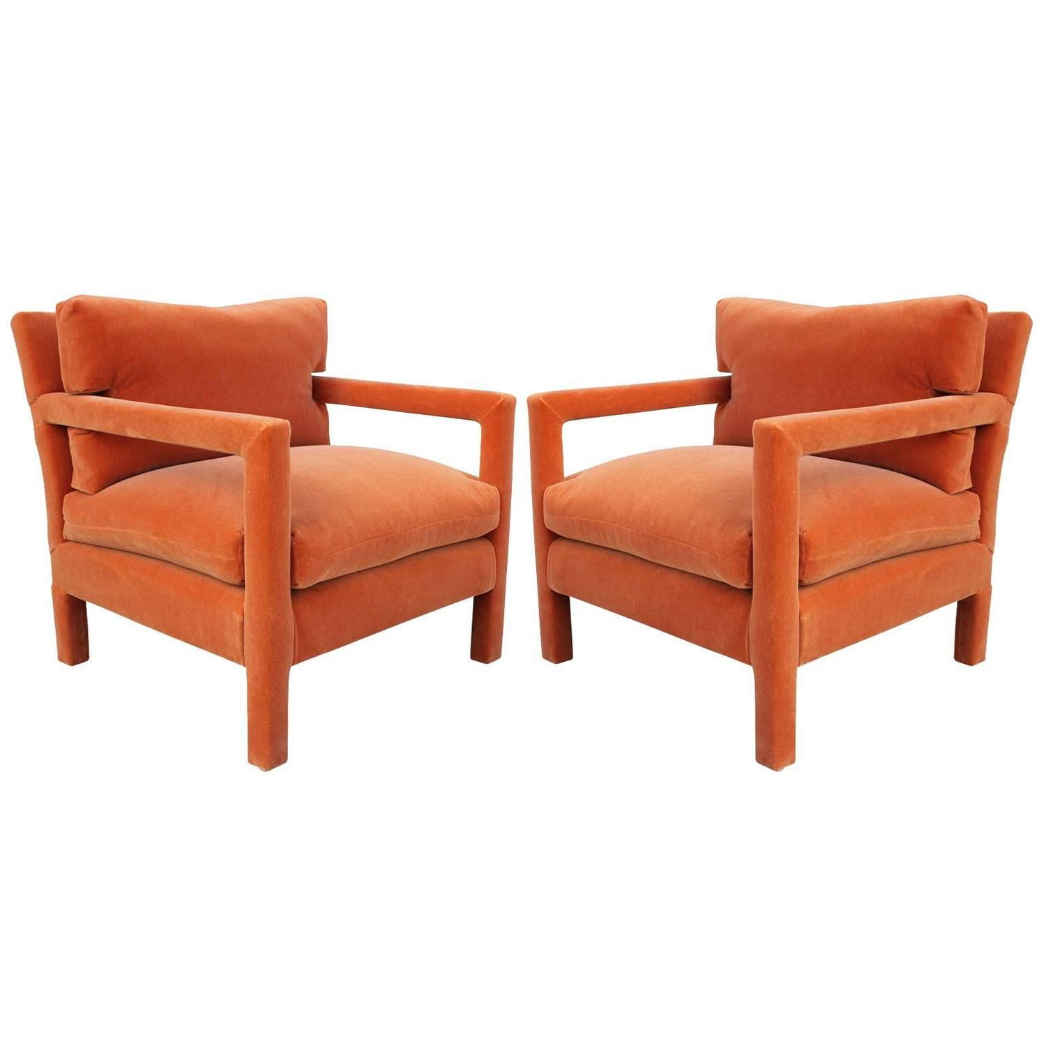 orange parsons chair best chairs irvington recliner fabulous pair of milo baughman style in