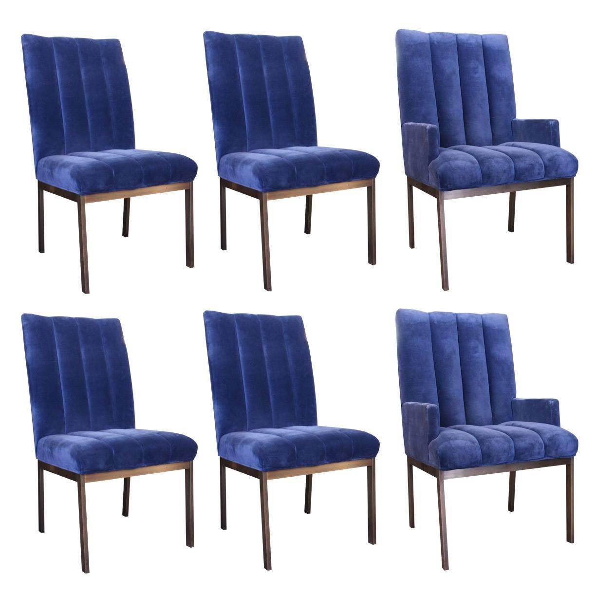 Dining Chairs Set Of 6 Set Of Six Velvet Dining Chairs By Dia At 1stdibs