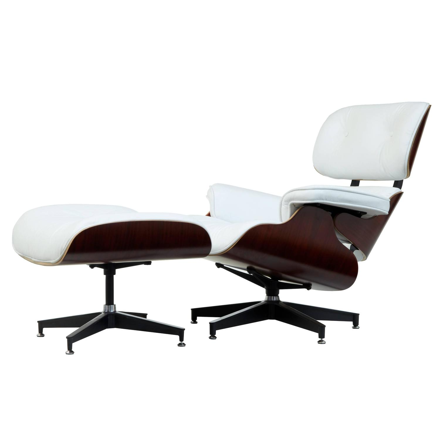 eames chair white canopy with footrest leather lounge and ottoman at 1stdibs