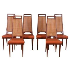 Cane Back Dining Room Chairs Microfiber Chair And Ottoman Set Of Six Mid Century By Urban