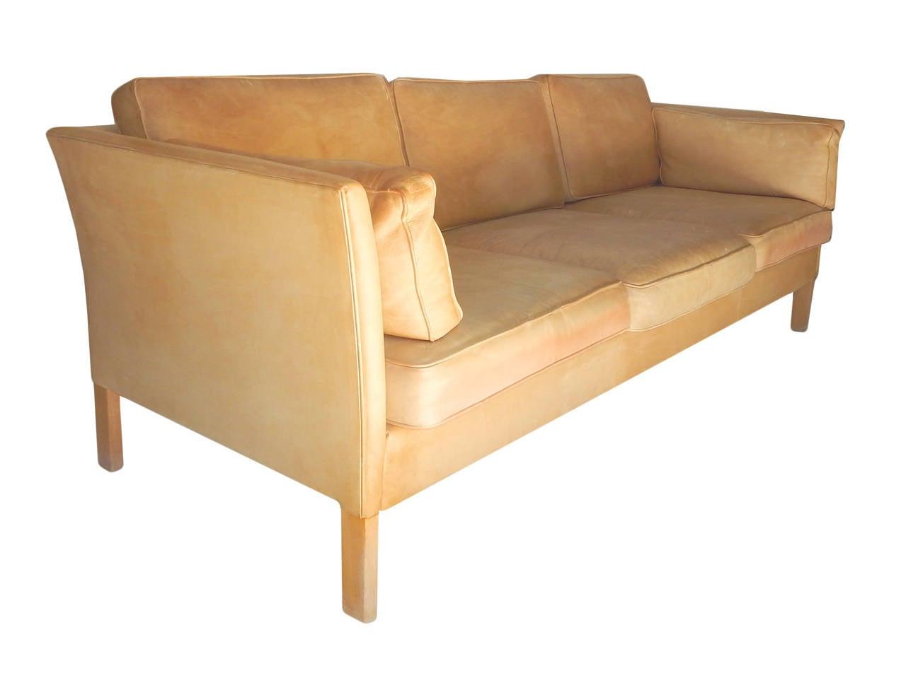 caramel colored leather sofas hamilton rockville md borge morgensen sofa at 1stdibs