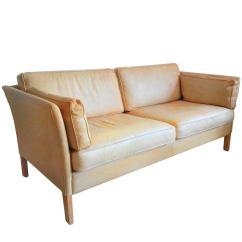 Caramel Colored Leather Sofas Tempurpedic City Sleeper Sofa Børge Morgensen Settee At 1stdibs