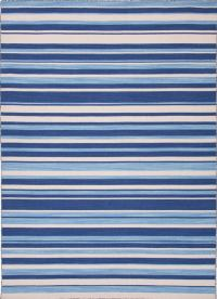 Navy, Blue, and White Striped Rug For Sale at 1stdibs