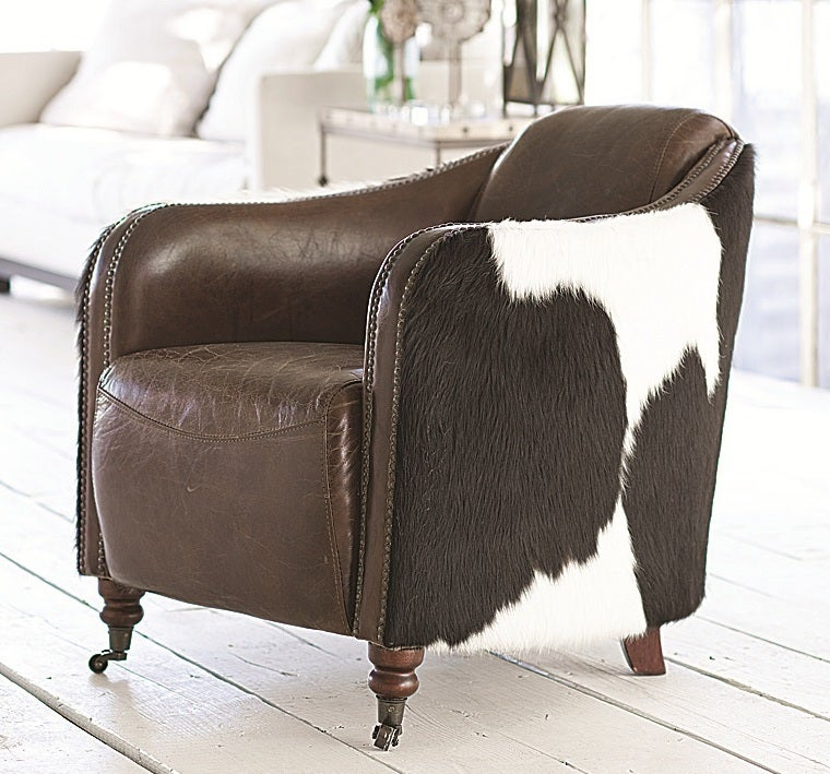 Leather and Cowhide Club Chair For Sale at 1stdibs
