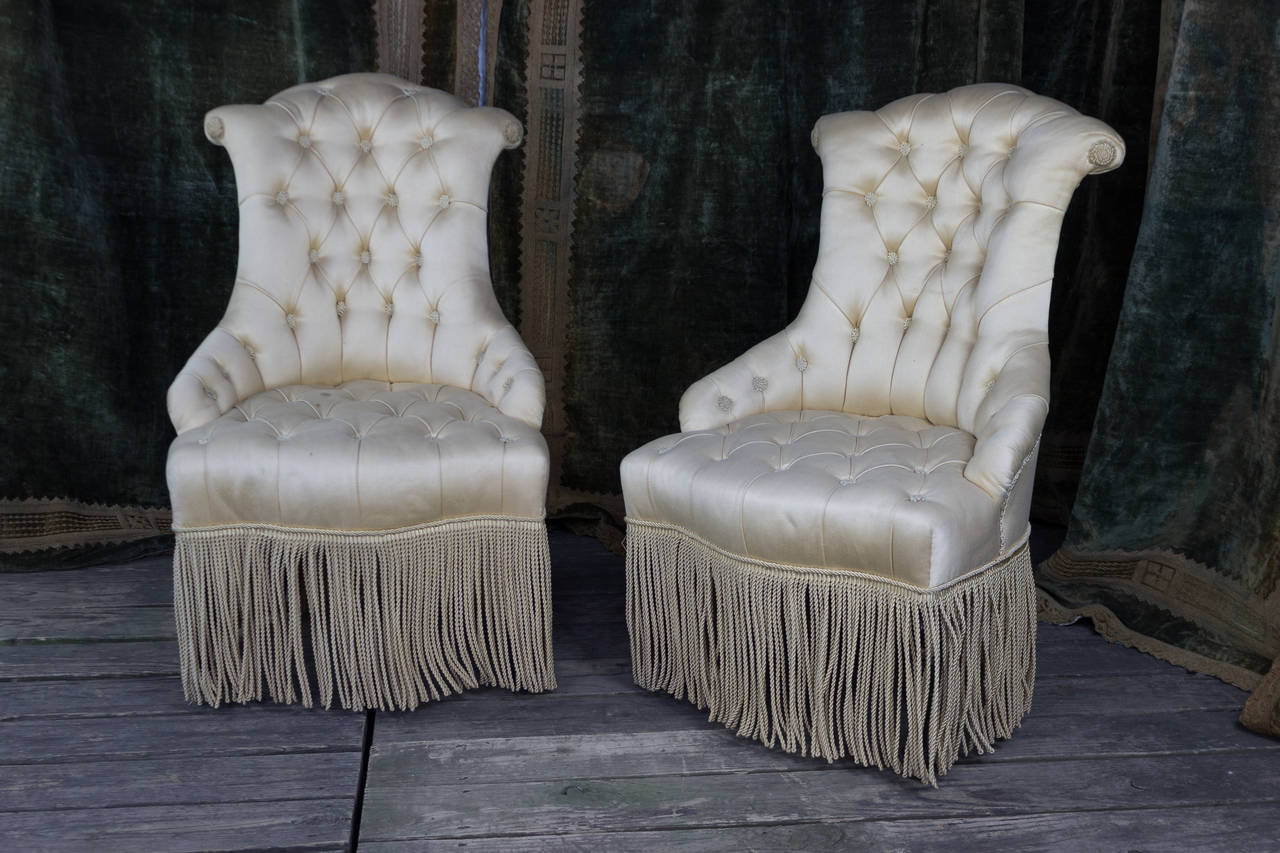bonnie cream slipper chair uline folding cart pair of tufted and scrolled chairs for sale at 1stdibs