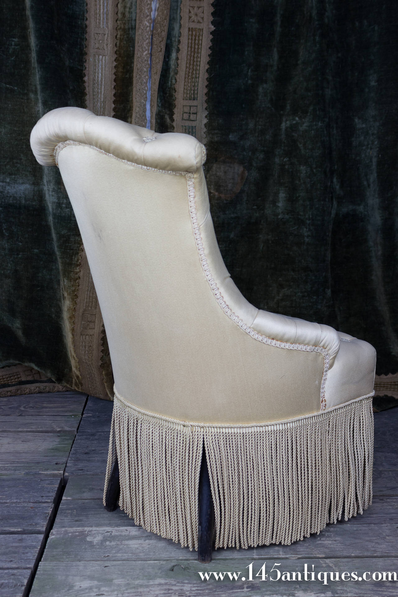 bonnie cream slipper chair gel cushion for pair of tufted and scrolled chairs sale at 1stdibs