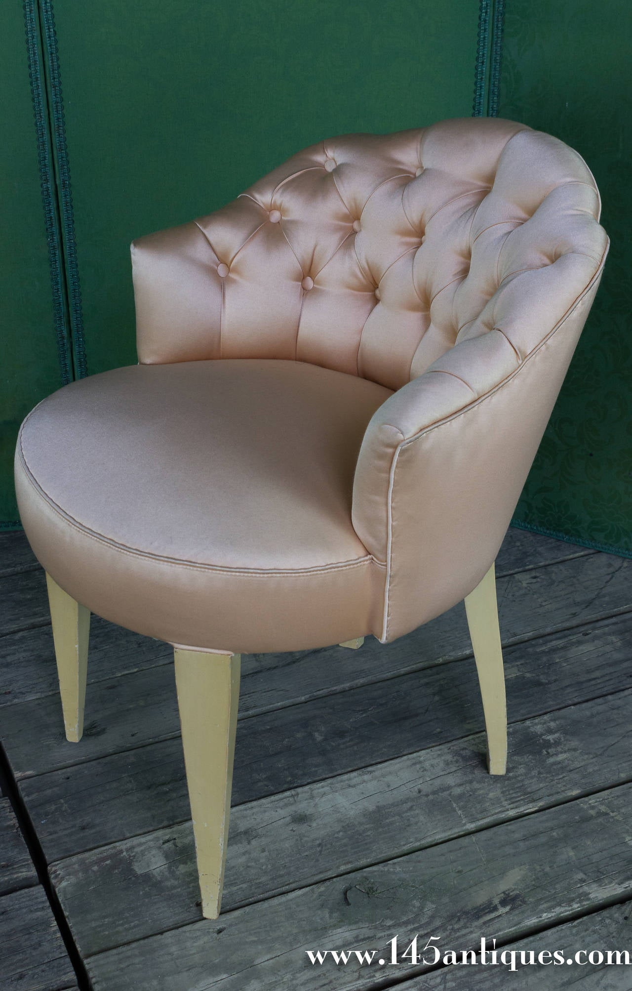 vanity chair with back white kitchen table and chairs next 20th century french tufted stool at 1stdibs