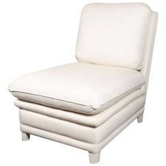 White Leather Slipper Chair Folding Picnic Table Upholstered By Billy Baldwin At 1stdibs