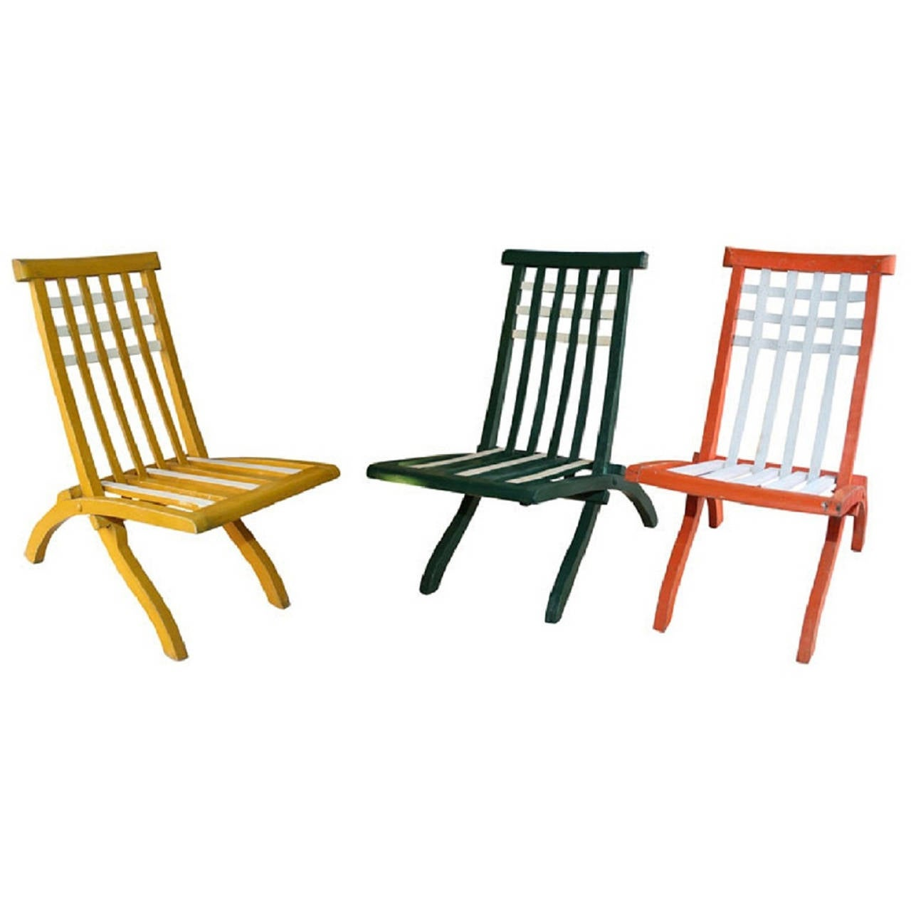 Set of Wooden Folding Chairs by MalletStevens French