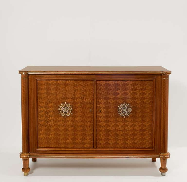 Two Door Walnut Cabinet With Inlay By Jules Leleu At 1stdibs