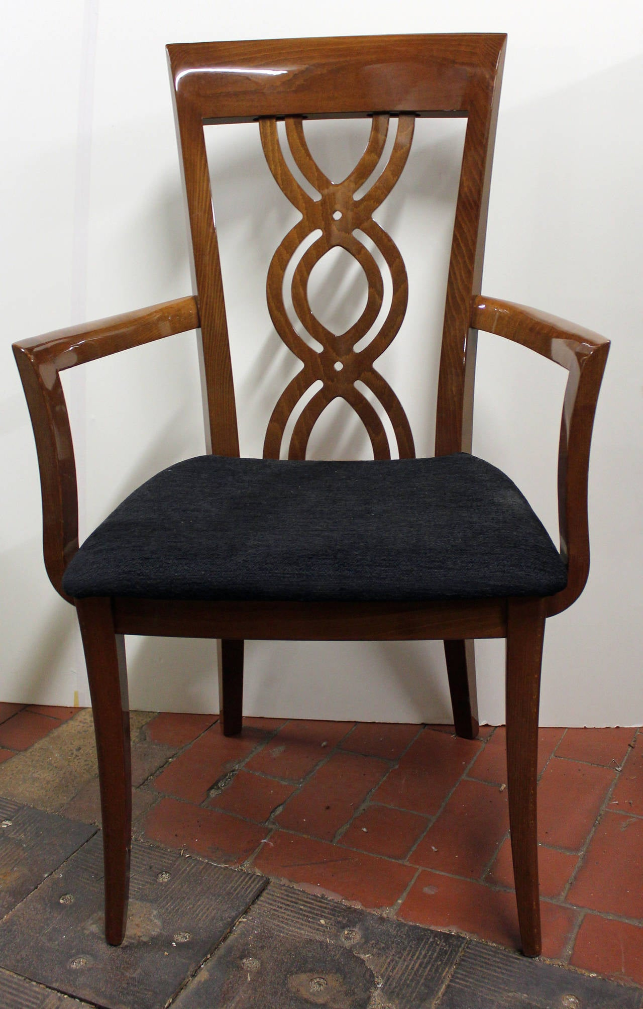 Pair Of Elegant Highly Polished Dining Chairs For Sale At