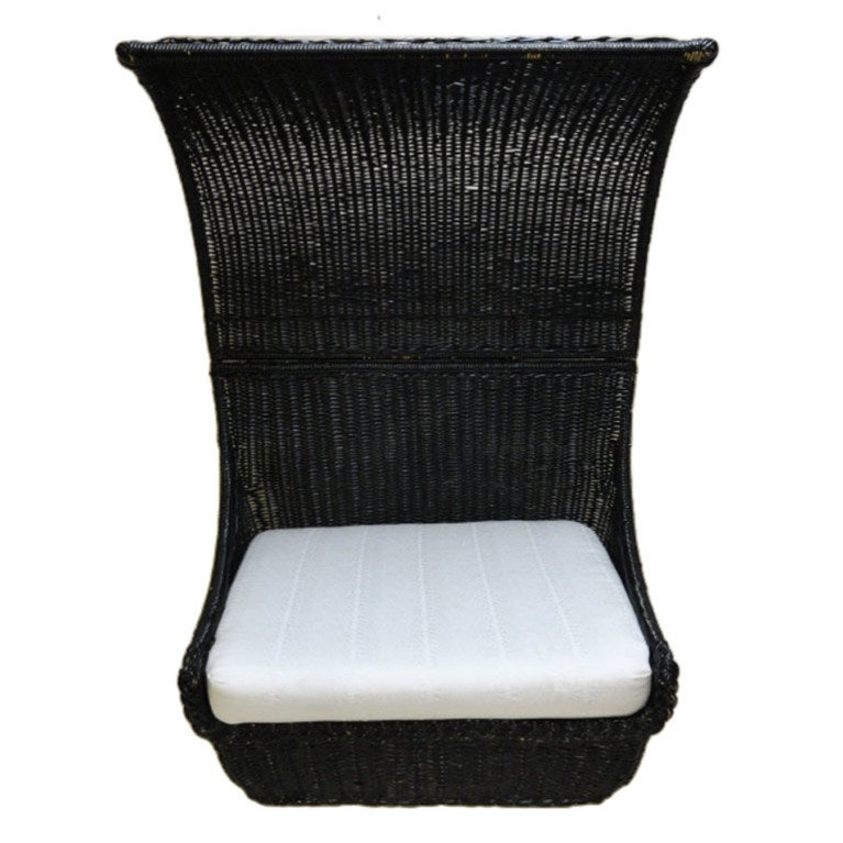 prouve standard chair death by electric video vintage black painted rattan hooded settee at 1stdibs