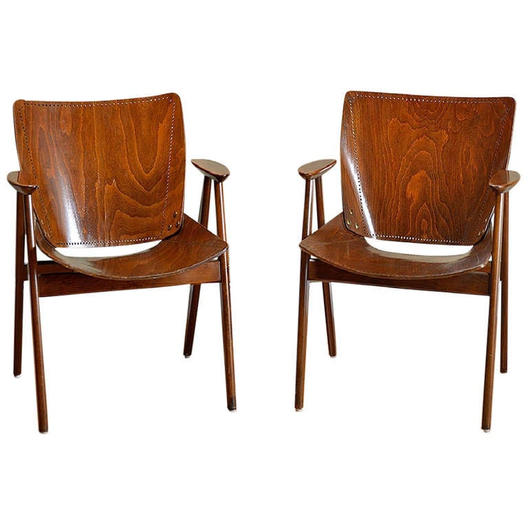 Pair Of Antique Punched Wood Arm Chairs At 1stdibs