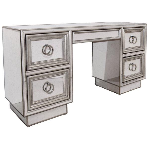 Silver Vanity Desk with Mirror