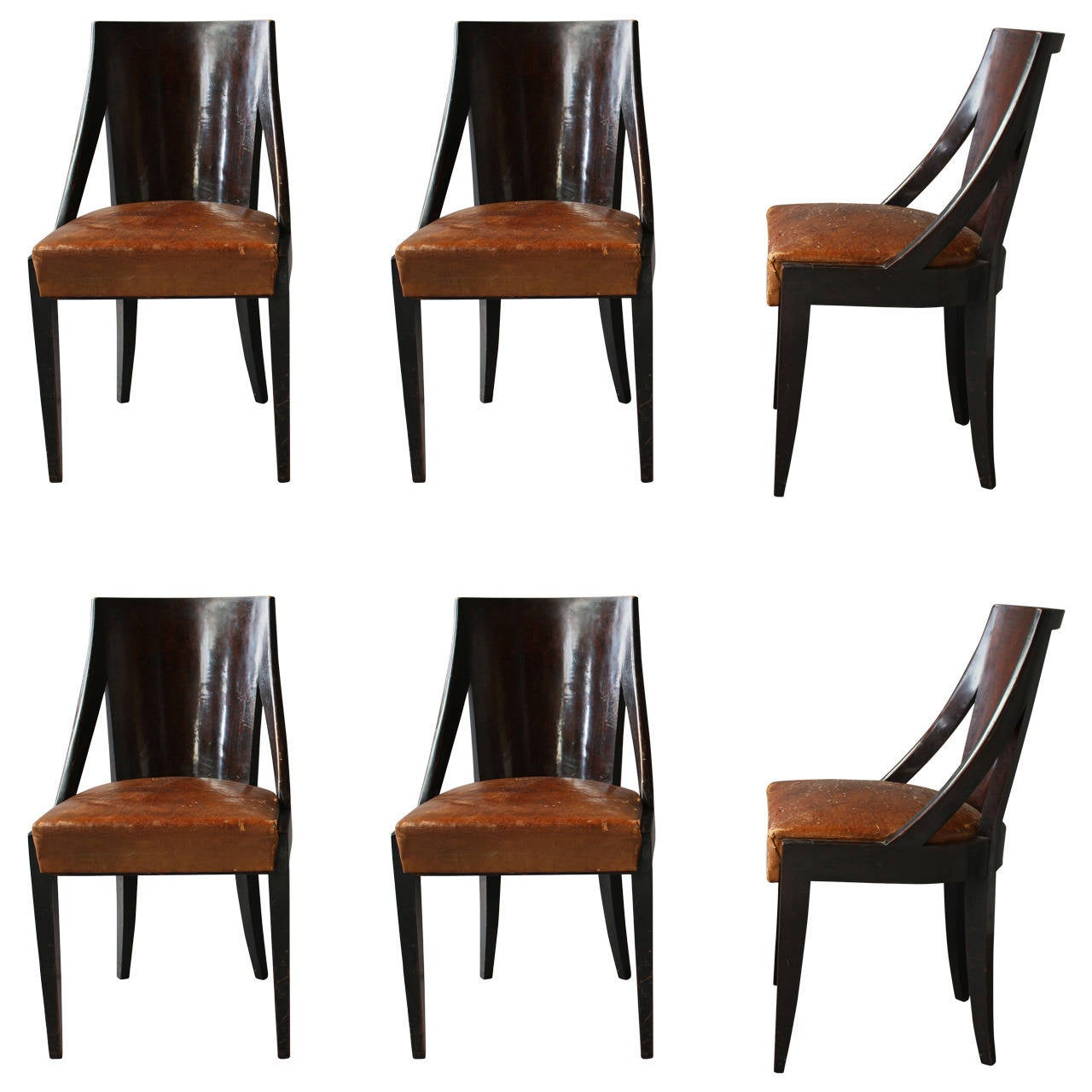 art deco kitchen chairs plastic dining chair set of six french by christian