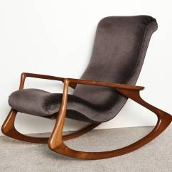 Vladimir Kagan Rocking Chair Bertoia Diamond Cover At 1stdibs Contour By Sculpted Walnut Frame With Dark Velvet Upholstery A