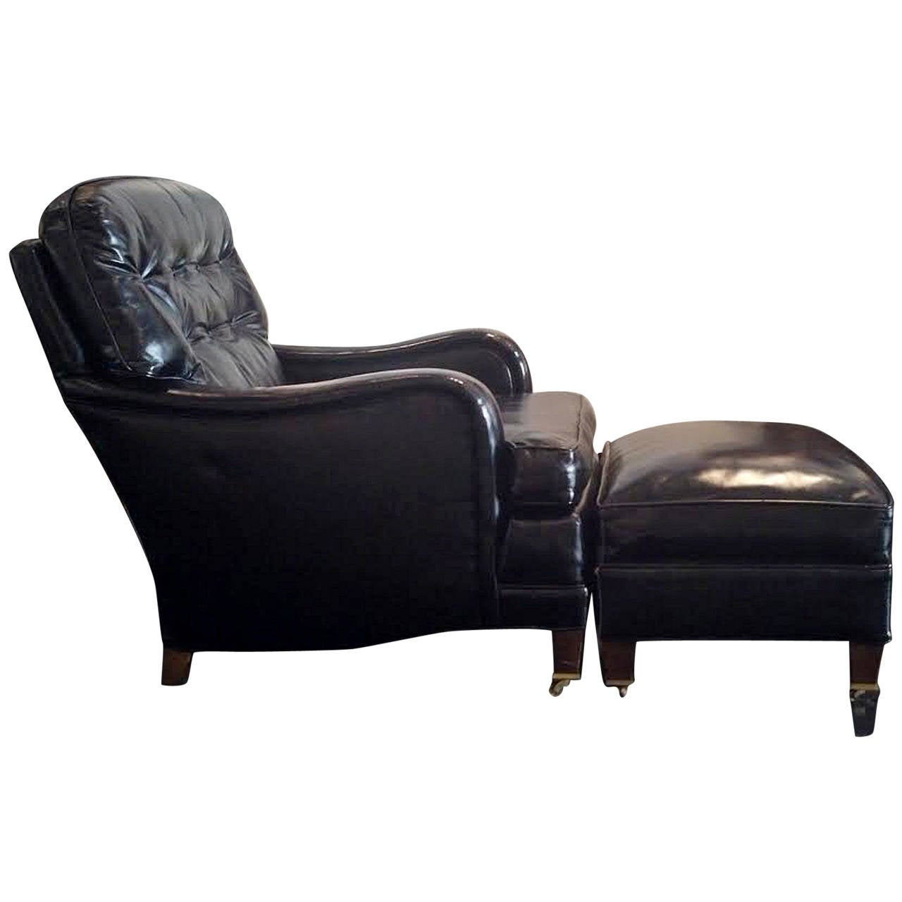 art deco club chairs leather in pool lounge american chair and ottoman at 1stdibs