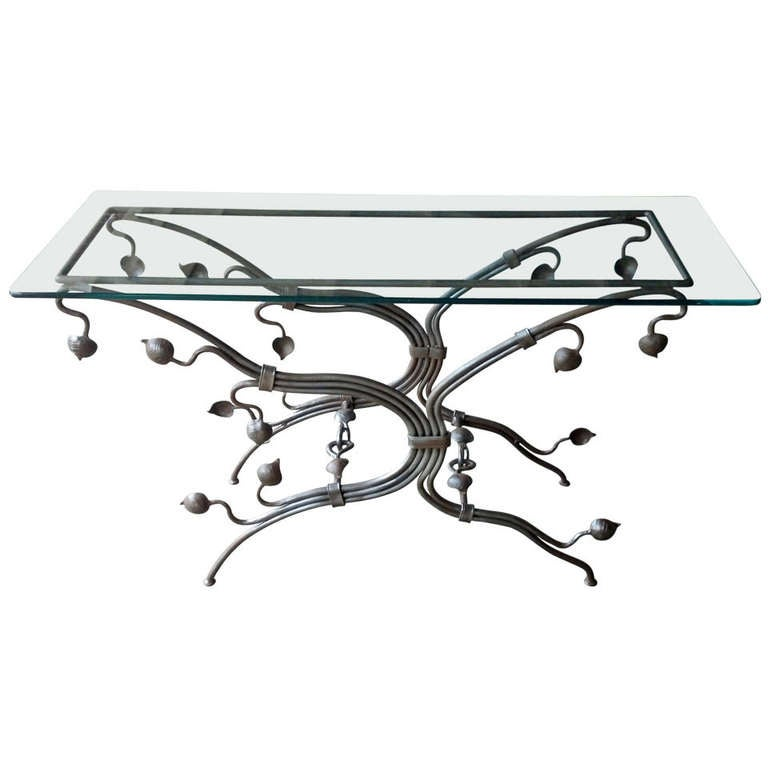Art Nouveau Style Wrought Iron Console Table at 1stdibs