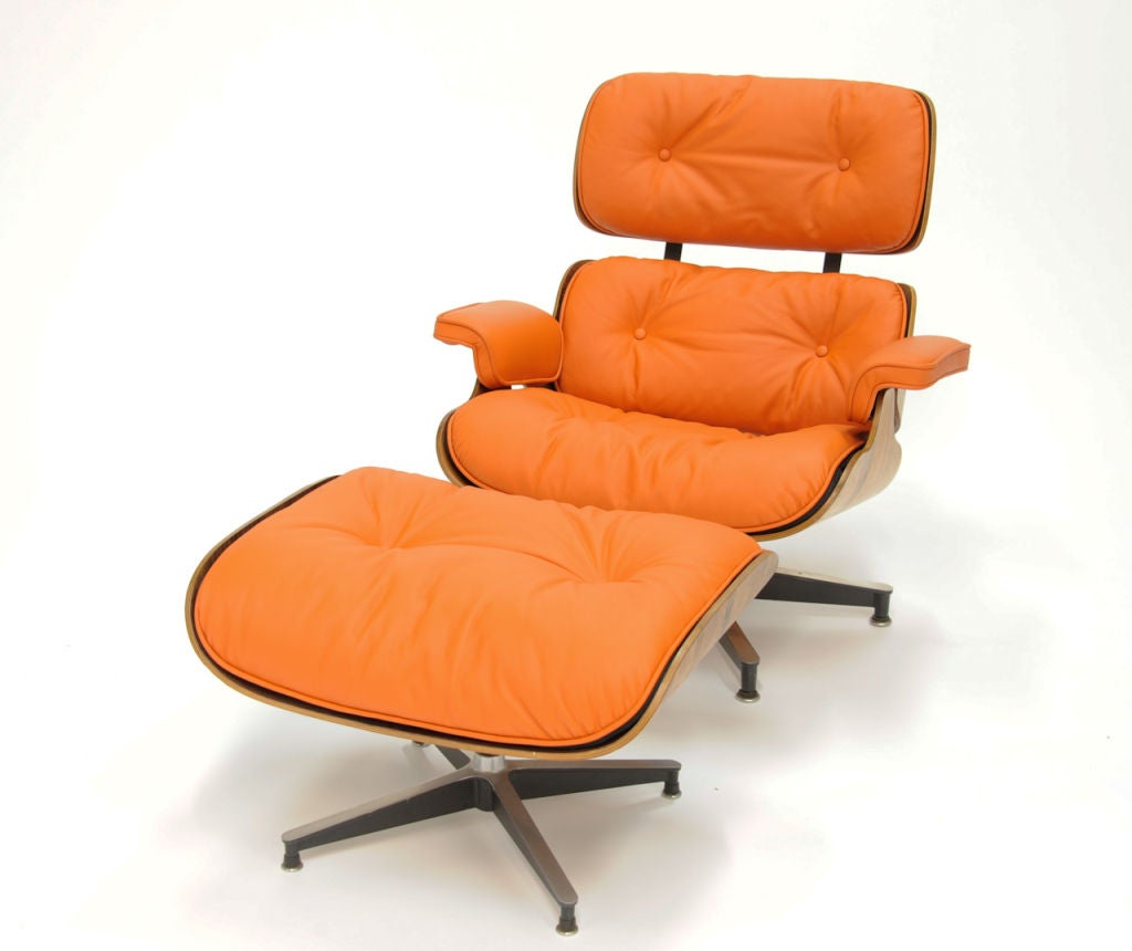 Orange Leather Chair Eames 670 And 671 Lounge Chair In Quothermes Quot Orange Leather