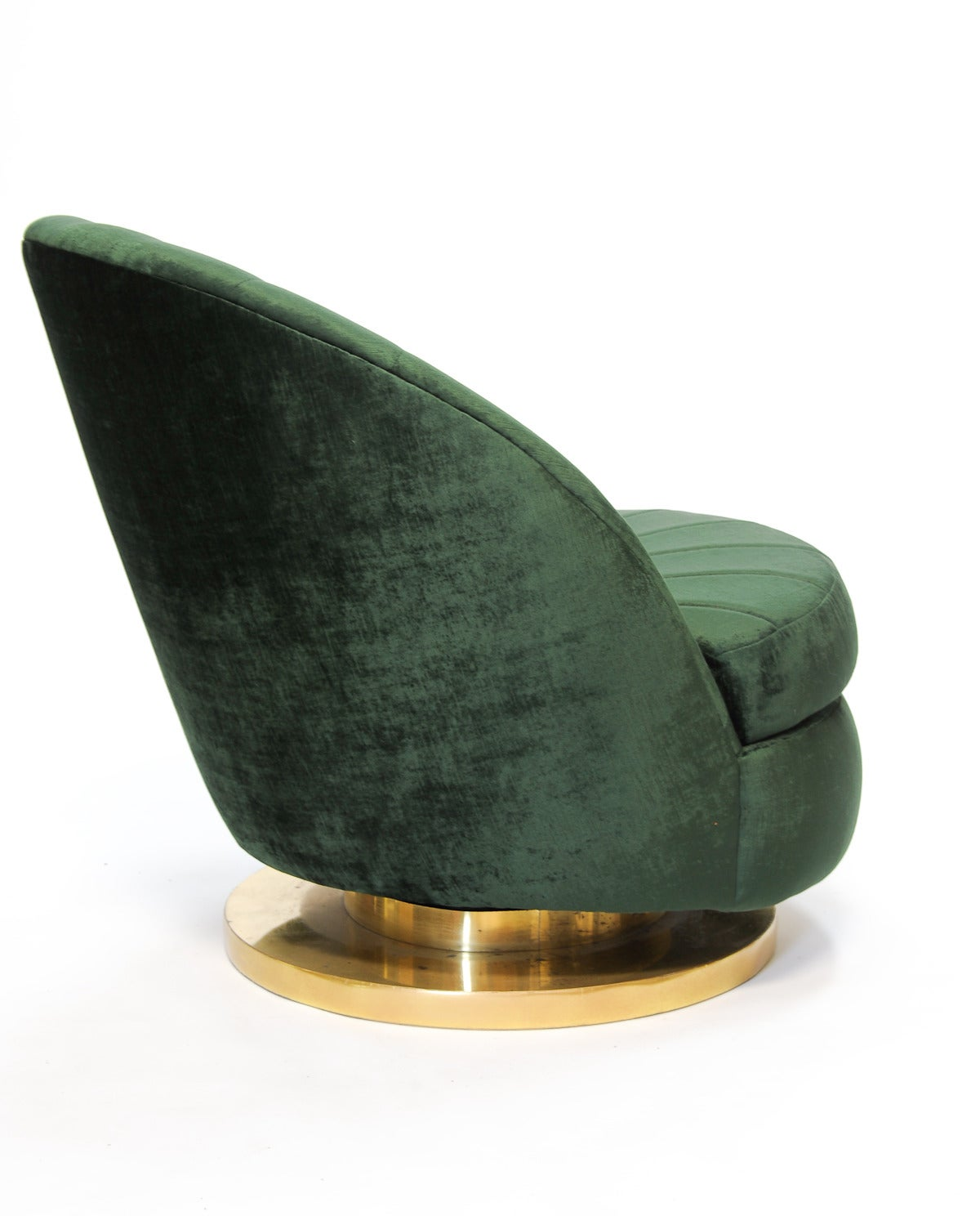green velvet swivel chair wheel olx pair of milo baughman high back chairs in british