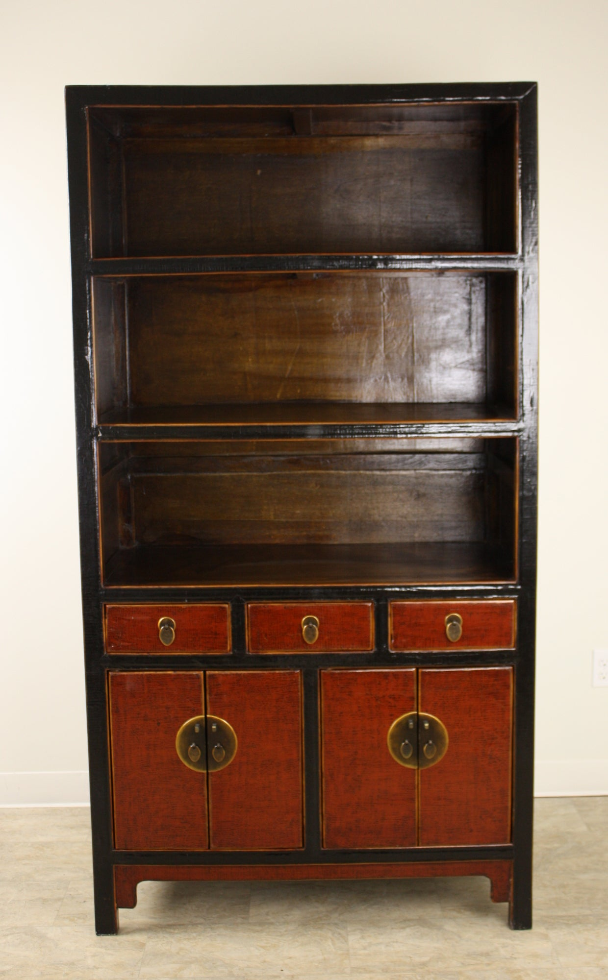 Black and Red Chinese Bookcase at 1stdibs