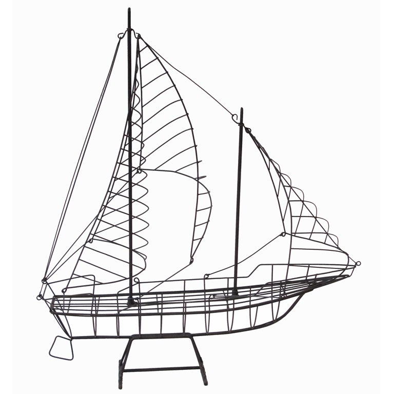Wire Sailboat Sculpture at 1stdibs