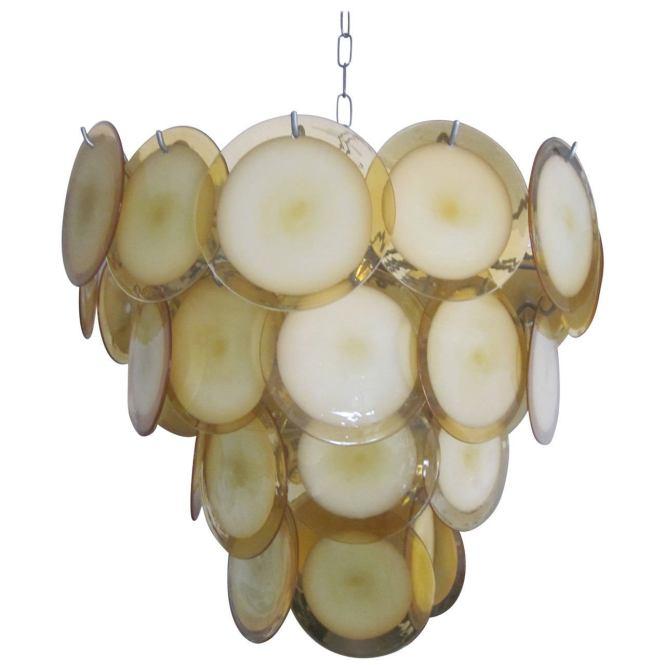 Mid Century Modern Murano Venetian Glass Disc Chandelier Or Pendant By Vistosi For