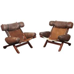 Swedish Leather Recliner Chairs Wood Chair Accessories Pair Of Lounge For Sale At 1stdibs
