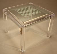 Heavy Lucite Game Table with Etched Glass Top at 1stdibs