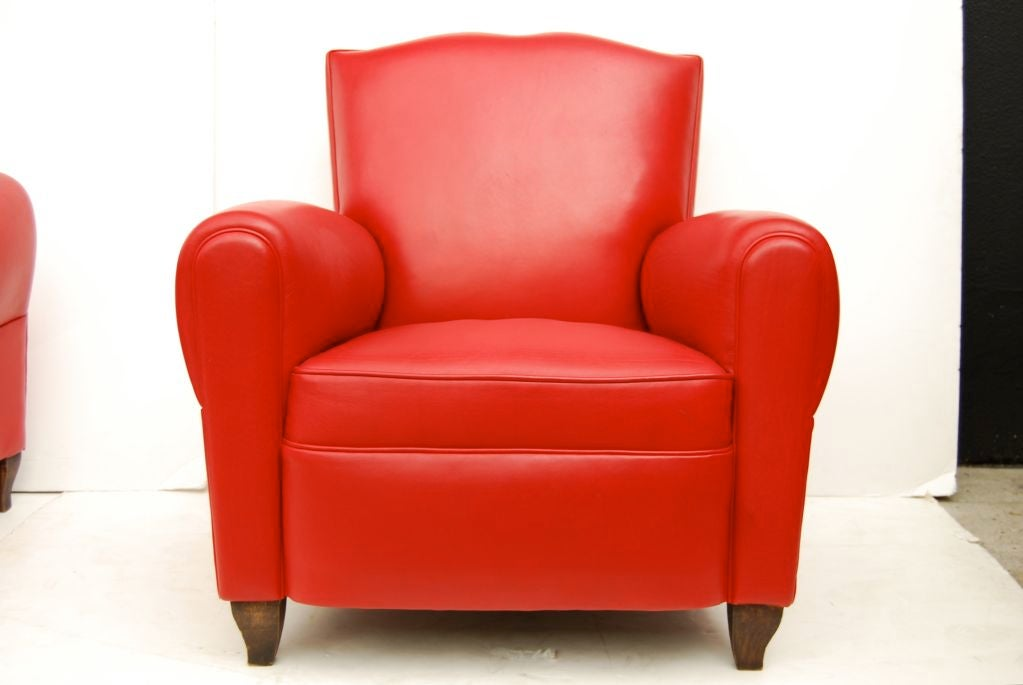 French Red Leather Club Chairs For Sale at 1stdibs