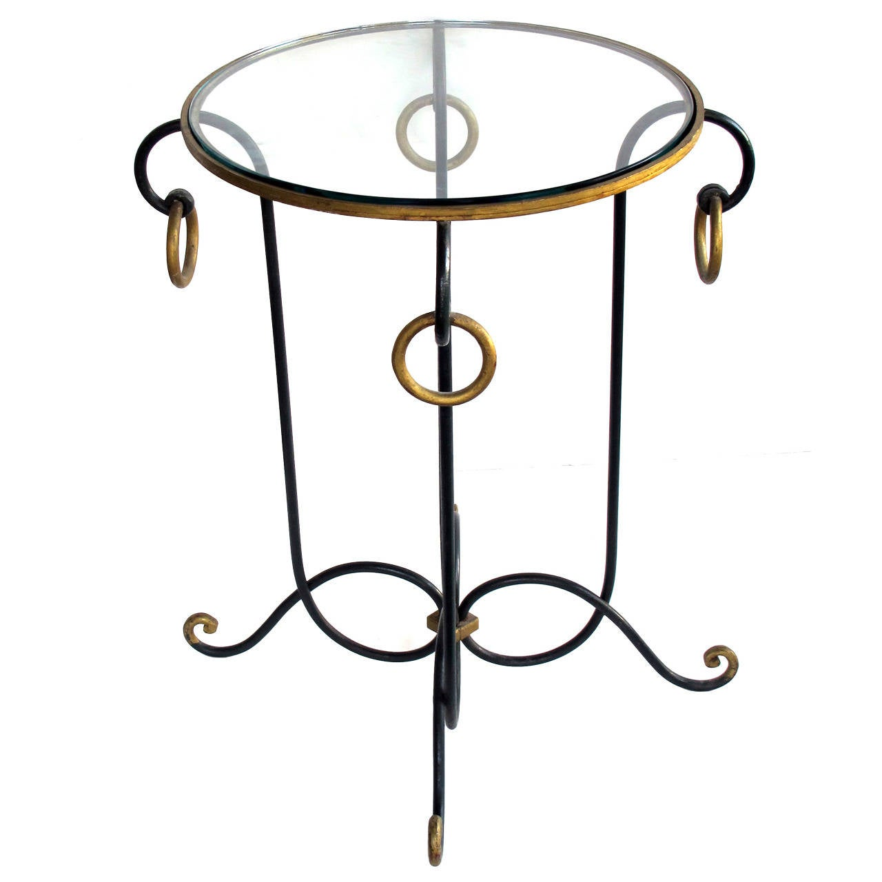 French Dark Green Painted Iron Circular Side Table By Rene