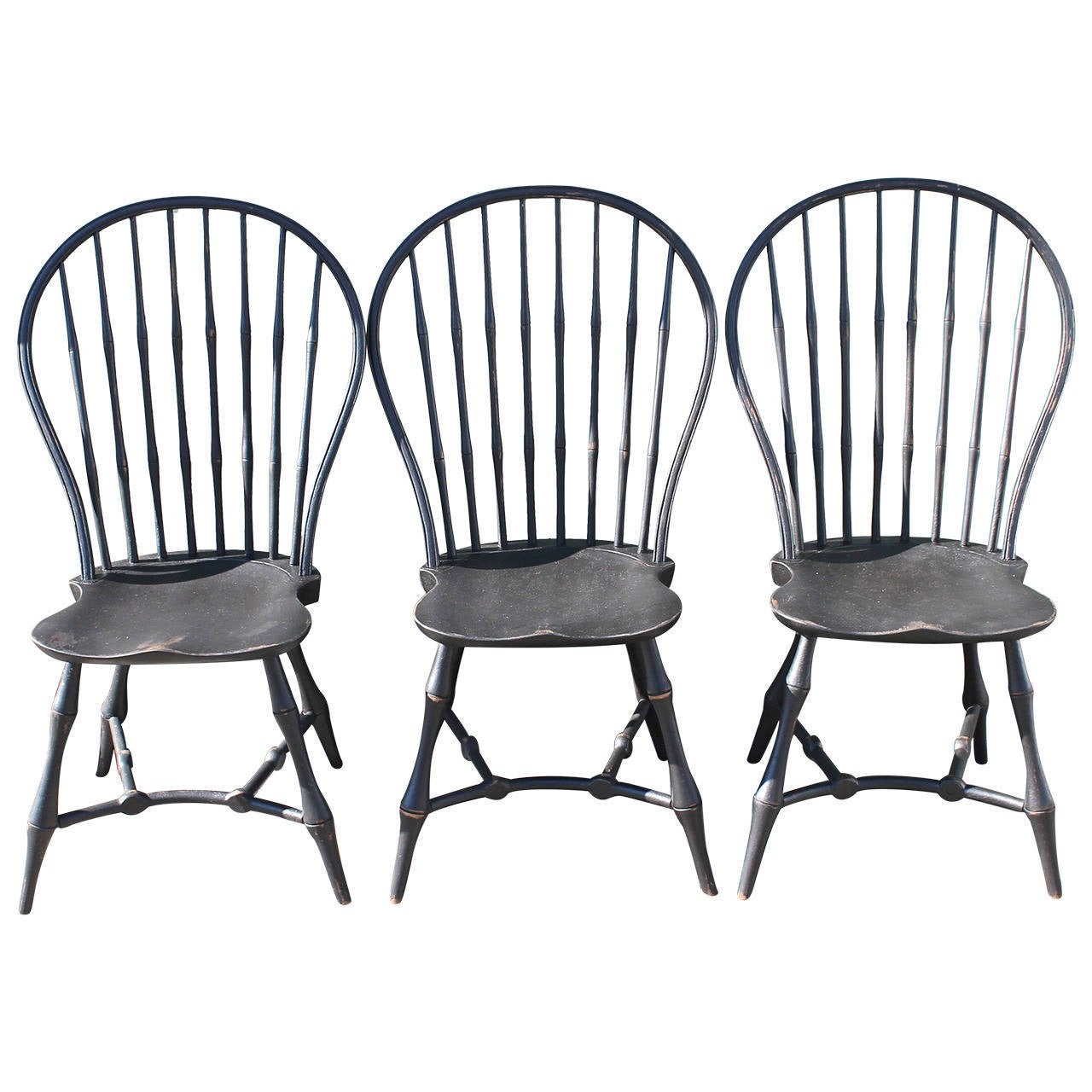 Black Windsor Chair Set Of Three 19th Century Black Painted New England