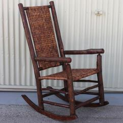 Woven Rocking Chair Hans Wagner Chairs Monumental Old Hickory High Back Rocker With Open Cane Weave At 1stdibs