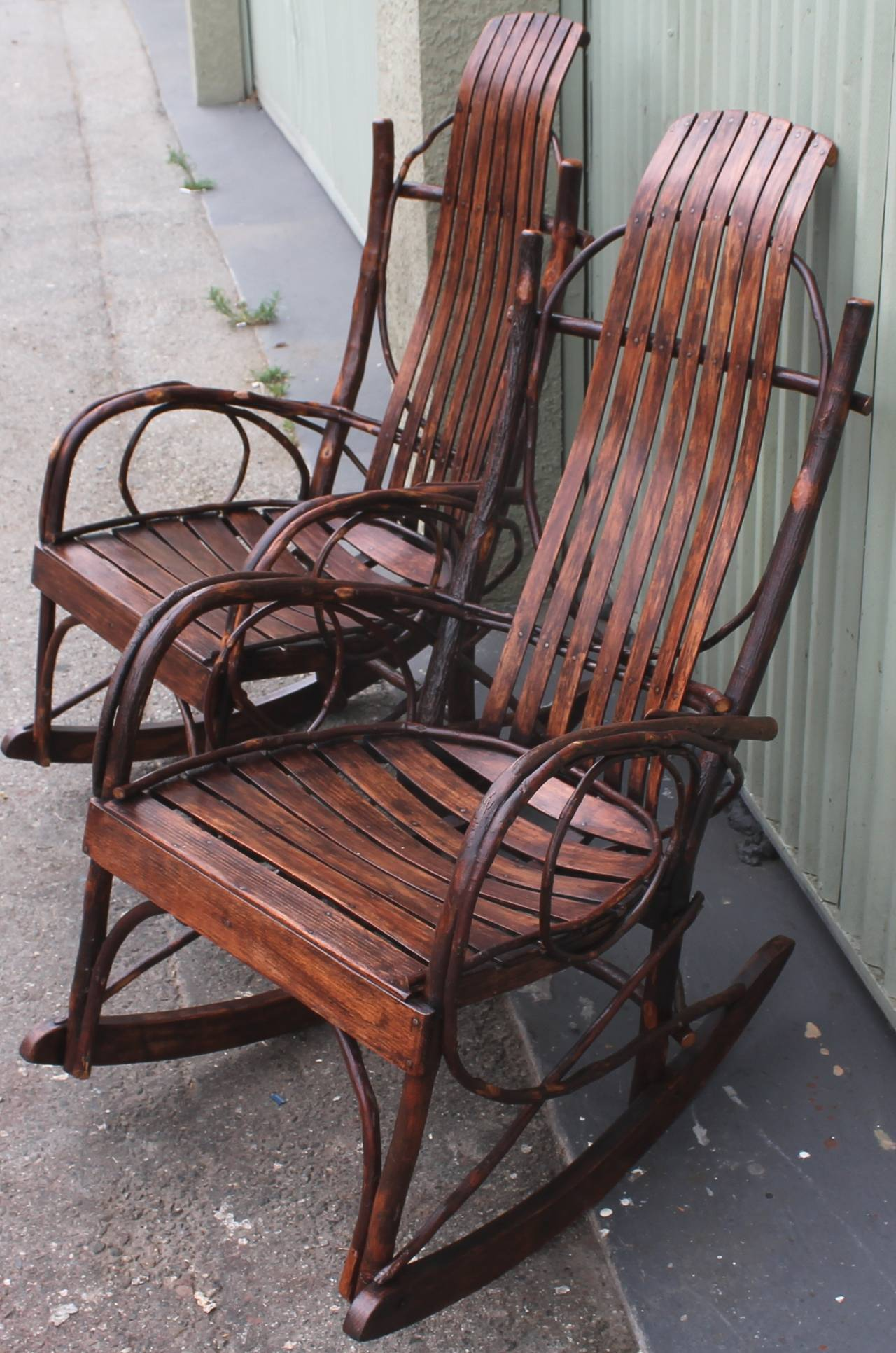 handmade rocking chairs plush dinosaur chair with sound pair of matching amish bentwood at 1stdibs
