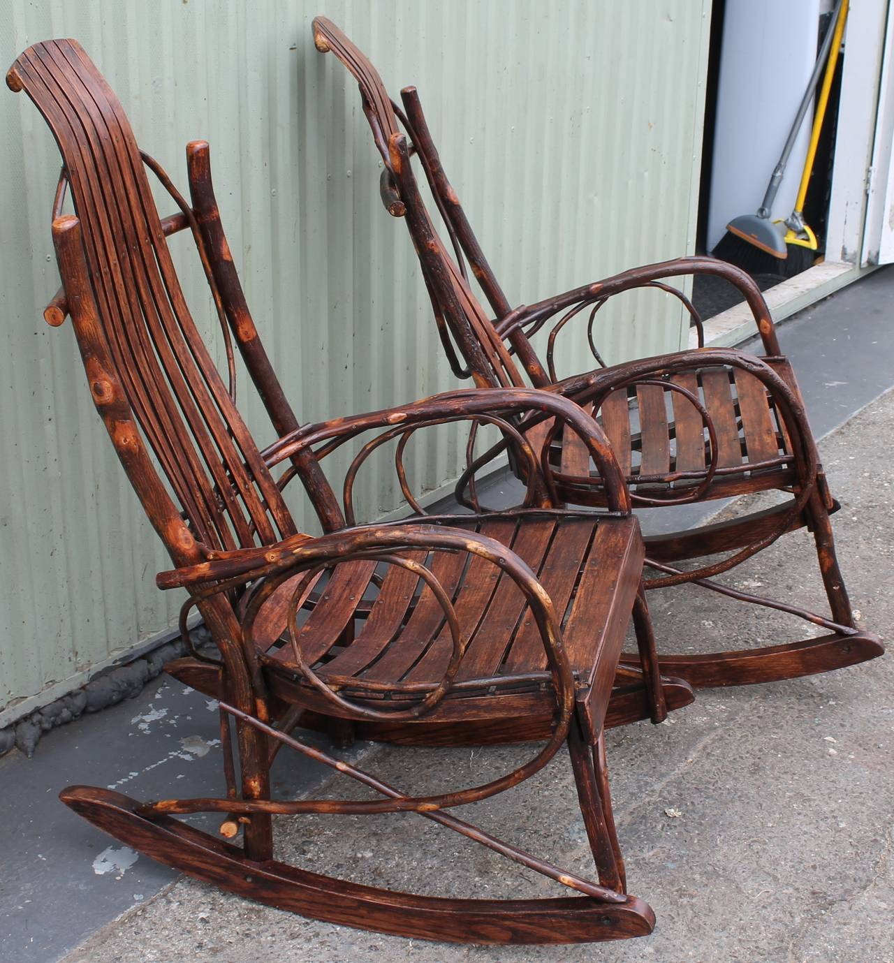 handmade rocking chairs fred meyer adirondack pair of matching amish bentwood at 1stdibs